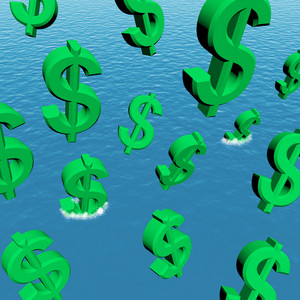 Dollars Falling In The Ocean Showing Depression Recession And Economic Downturn