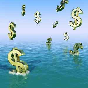 Dollars Falling In The Sea Showing Depression Recession And Economic Downturn