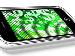 Dollars On Mobile Screen Show Money Or Wealth