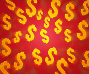 Dollars Red Background