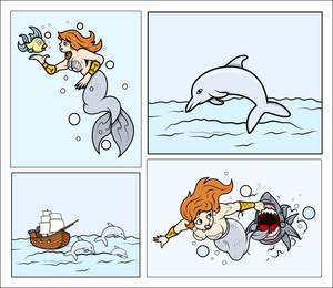 Dolphin And Mermaid Backgrounds - Cartoon Vector Illustration