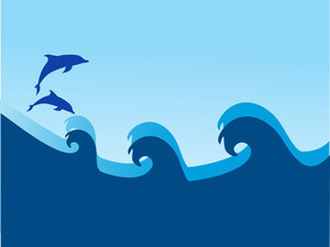 Dolphin And Sea Wave On Blue Background