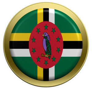 Dominica Flag On The Round Button Isolated On White.