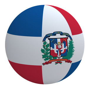 Dominican Republic Flag On The Ball Isolated On White.