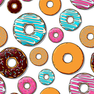 甜甜圈無縫紋理。