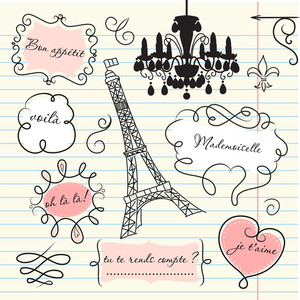 Doodle Frames In French Style