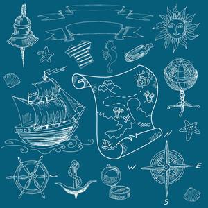 Doodle Sea Vintage Elements