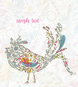 Doodles Background With Colorful Bird Vector Illustration