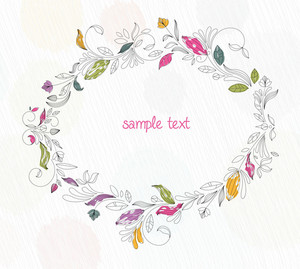 Doodles Floral Frame Vector Illustration