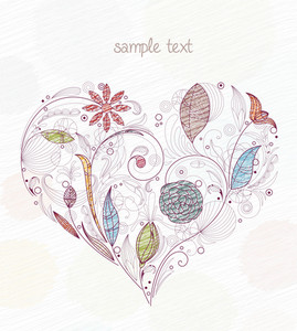 Doodles With Heart Made Of Floral Vector Illustration
