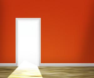 Door In The Red Wall Background