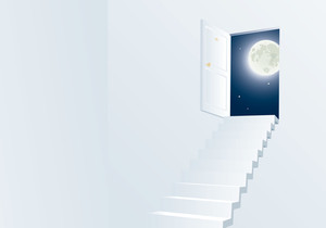 Door To Th Night. Vector Background