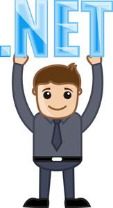 Dot Net Domain Name Text Concept - Cartoon Vector