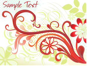 Dotted Background With Curve Floral