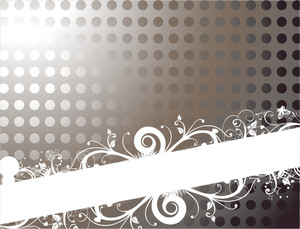Dotted Background With Floral Banner