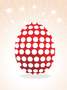 Dotted Red Egg With Rays Illustration