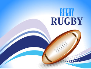 Dotted Stripes Background With Rugby Ball