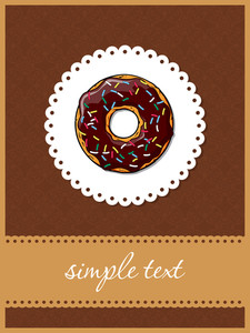 Doughnut Greeting Card With Ornamental Background. Vector Illustration.