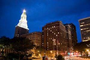Downtown Hartford Connecticut during the evening hours.  This is the capital city of the state.