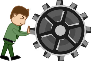 Dragging The Gear - Cartoon Vector