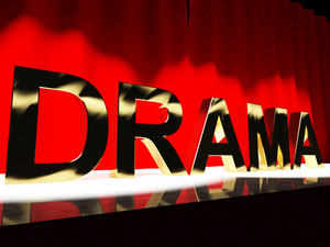 Drama Word On Stage Representing Broadway The West End And Acting