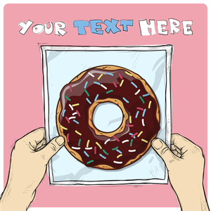 Drawing Of A Sheet Of Paper With Cartoon Donut Illustration In Hands. Vector.