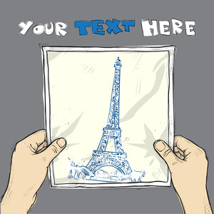 Drawing Of A Sheet Of Paper With Eifel Tower Illustration In Hands. Vector.