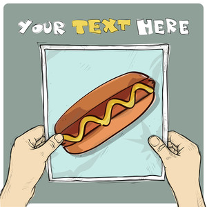Drawing Of A Sheet Of Paper With Hotdog Illustration In Hands. Vector.