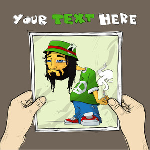 Drawing Of A Sheet Of Paper With Rasta Character Illustration In Hands. Vector.