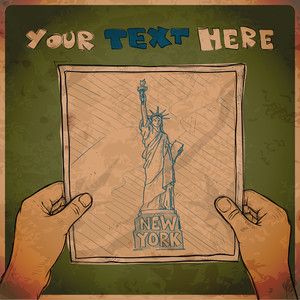 Drawing Of A Sheet Of Paper With Statue Of Liberty Illustration In Hands. Vector.