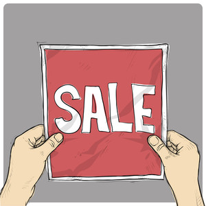 Drawing Of A Sheet Of Paper With Word Sale In Hands. Vector.