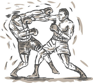 Drawing Of Two Boxers Punching