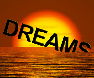 Dreams Word Sinking Showing Broken Or Unreachable Dream