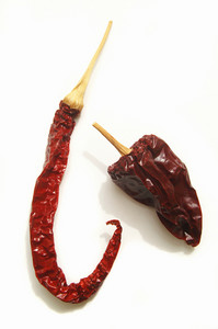 Dried Red Chilies On White Background