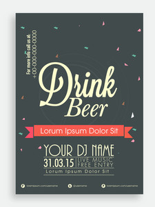Drink Beer template or flyer design for club pub or night beer party.