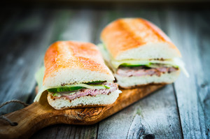 Cuban Sandwiches On Wooden Background