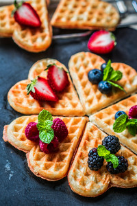 Heart Waffles With Berries