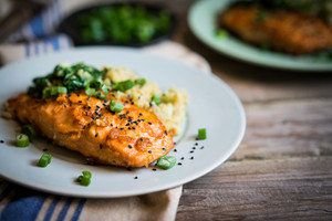 Salmon Steak With Mashed Potatoes And Greens