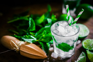 Chilled Mojito On Wooden Background