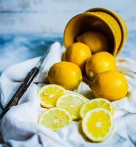 Lemons On Rustic Background