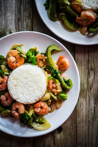 Shrimp With Rice And Vegetables