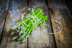 Asparagus On Rustic Wooden Background