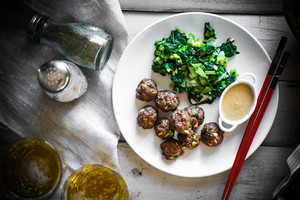 Meatballs With Green Salad And Honey Mustard Sauce