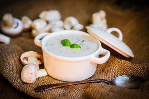Mushroom Soup In White Bowl