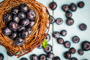 Blueberries In A Basket On Wooden Background