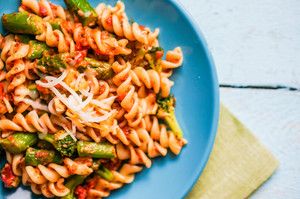 Pasta With Vegetables And Cheese On Wooden Background