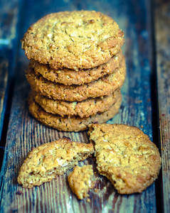 Vintage Oatmeal Cookies On Rustic Wooden Background