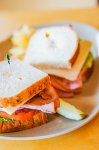 Club Sandwich With Ham And Cheese