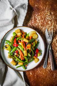 Baked Vegetables On Rustic Background