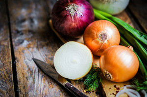 Colorful Onions On Rustic Wooden Background